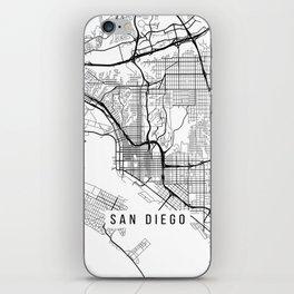 San Diego Map, California USA - Black & White Portrait iPhone Skin
