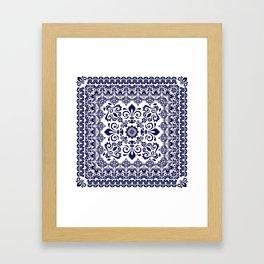 Oriental Damask blue on white Framed Art Print