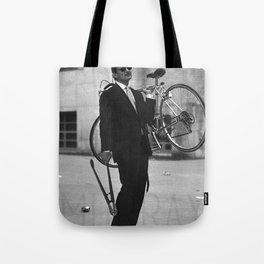 Bill F Murray stealing a bike. Rushmore production photo. Tote Bag