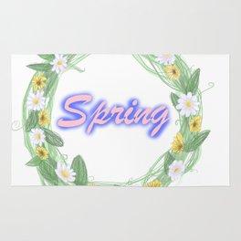 spring graffiti floral wreath Rug
