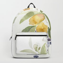 Watercolor Flowers with Blueberries Backpack