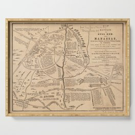 Vintage Map of The Battle of Bull Run (1861) Serving Tray