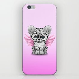 Snow Leopard Cub Fairy Wearing Glasses on Pink iPhone Skin
