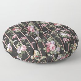 Elegant faux rose gold black stripes vintage blush pink lavender floral Floor Pillow