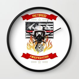 Retired Firefighter Thin Red Line Professional Hero Retirement Gift Wall Clock