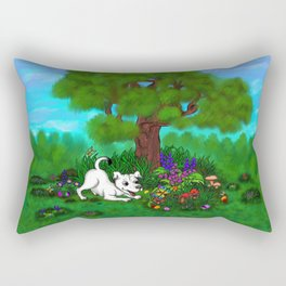 Easter - Spring-awakening - Puppy Capo and Butterfly Rectangular Pillow