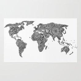 Lords Prayer Zentangle World Map  Rug
