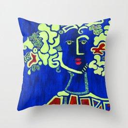 Lady Blue Throw Pillow