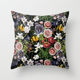 Vintage & Shabby Chic - Lush baroque flower pattern Throw Pillow