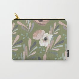 Anemones & Olives - Green Carry-All Pouch