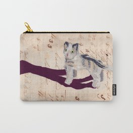 Vintage Fabric Stuffed Cat in Gouache Carry-All Pouch