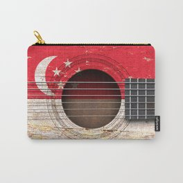 Old Vintage Acoustic Guitar with Singapore Flag Carry-All Pouch