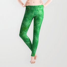 Bright green swirls doodles Leggings