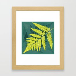 From the forest - lime green on teal Framed Art Print