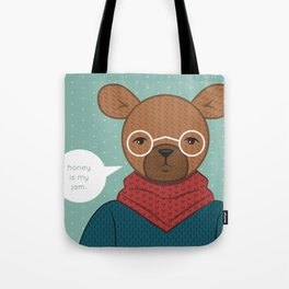 """Honey is my Jam"" Hipster Bear Tote Bag"