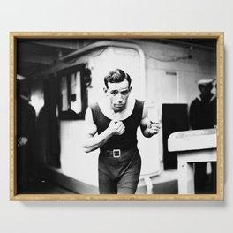 Vintage Boxer Photo Black & White Serving Tray