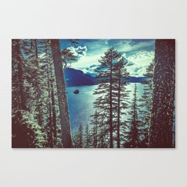 Crater Lake Vintage Summer Canvas Print