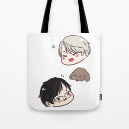 [ yuri on ice ] victor + makkachin + yuri Tote Bag