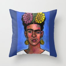 Frida on Blue Background Throw Pillow
