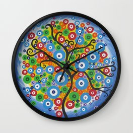 tree of life - small blue rainbow  Wall Clock