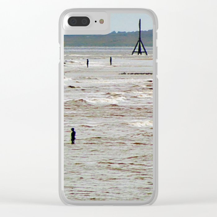 Gormley Statues on the beach (Digital Art) Clear iPhone Case