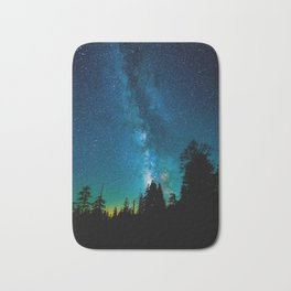 Blue White Milky Way Galaxy At Night Stars At Night Black Trees Silhouette Bath Mat