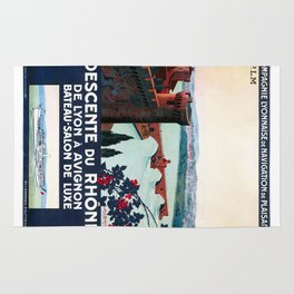 Descente du Rhône, French Travel Poster Rug