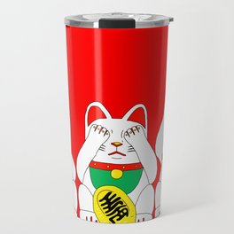 Three Wise Lucky Cats on Red Travel Mug