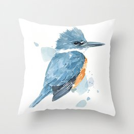 Belted Kingfisher watercolor Throw Pillow