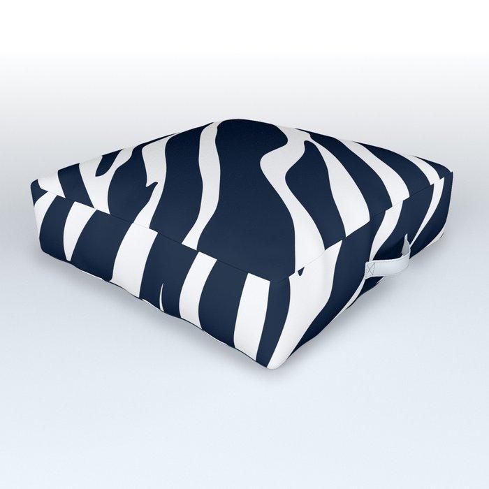 Navy blue zebra print Outdoor Floor Cushion