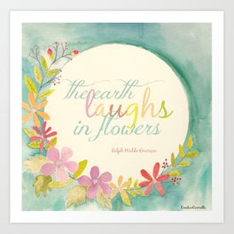 the earth laughs in flowers ~ watercolor Art Print
