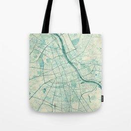 Warsaw Map Blue Vintage Tote Bag