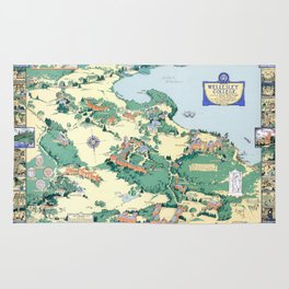 WELLESLEY College map MASSACHUSETTS dorm decor graduate Rug
