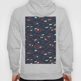 Abstract Stone Wall Pattern Print in Red, White, and Blue Hoody