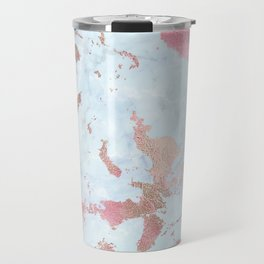 Rose Gold Foil on Summer Blue Marble Travel Mug