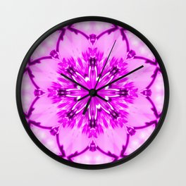 Eastern Redbud And The Bee Kaleidoscope Infrared Neon Pink Wall Clock