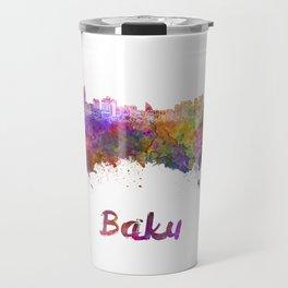 Baku skyline in watercolor Travel Mug