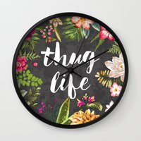 black Wall Clocks featuring Thug Life by Text Guy
