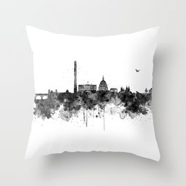 Washington DC Skyline Black and White Throw Pillow
