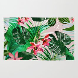 Tropical palm leaf with red flowers Rug