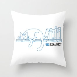 The Purrfect Reading Buddy Throw Pillow