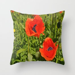 poppies nature Throw Pillow