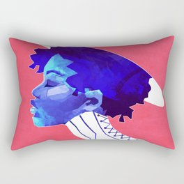 Woman in Blue Rectangular Pillow
