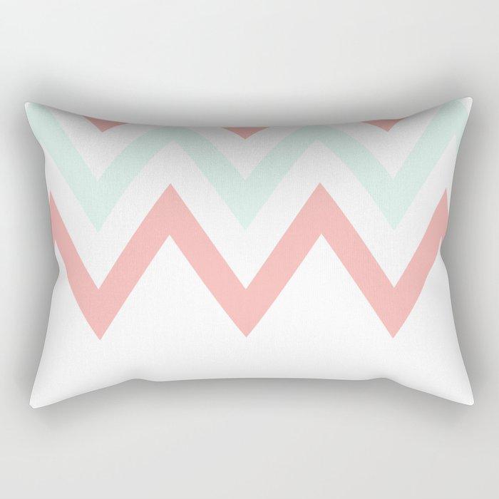 Mint & Coral Chevron (2) Rectangular Pillow