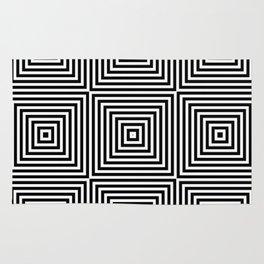 Square Optical Illusion Black And White Rug