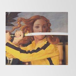 Botticelli's Venus & Beatrix Kiddo in Kill Bill Throw Blanket