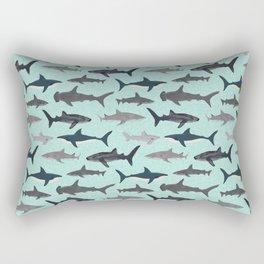 Sharks nature animal illustration texture print marine biologist sea life ocean Andrea Lauren Rectangular Pillow