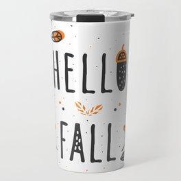 Hello Fall Cute Typography & Leafs Travel Mug