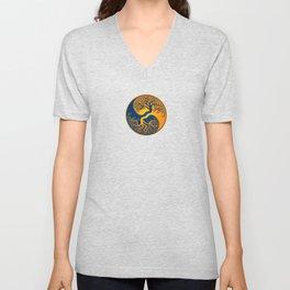 Blue and Yellow Tree of Life Yin Yang Unisex V-Neck