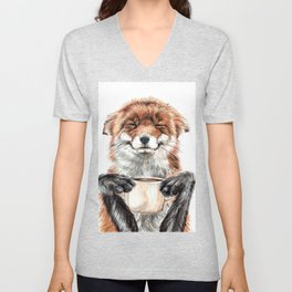 """"""" Morning fox """" Red fox with her morning coffee Unisex V-Neck"""